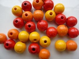 6013202- 28 stuks houten kralenmix rood/geel/oranje 12mm