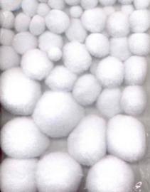 CE800600/3311- 50 stuks pompom mix wit 1 tot 2.5cm