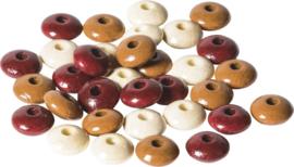 KN6023558- 33 stuks houten woodlens kralen 10mm bruin mix