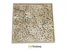 811500/0298- XL box met 250 stuks houten alfabet letters 16.8x16.8cm