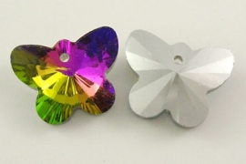 K14- electroplated glasbedel crystal butterfly 12x15mm