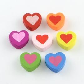 15 stuks houten kralen hartjes 18x17mm kleurenmix