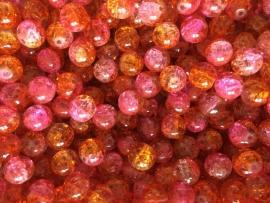 C216- 25 stuks crackle glaskralen van 10mm duocolor roze/oranje