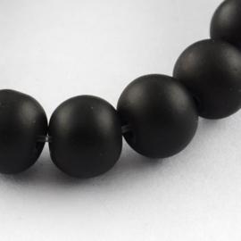 C292- 40 stuks ronde glaskralen 8mm mat zwart rubberrized