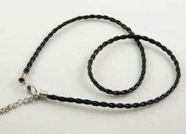 kant en klare halsketting gevlochten imitatie leder halsketting 48cm zwart