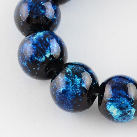 C352- 20 stuks glaskralen 10mm dodger blauw gemeleerd