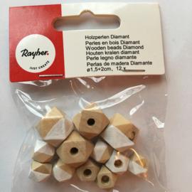 RA12201102- 12 stuks houten kralen diamant 1.5cm + 2cm naturel/wit