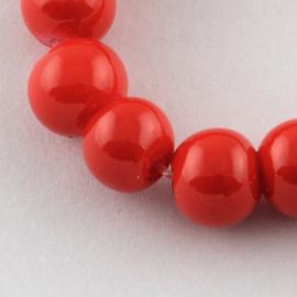 C229- 50 stuks glaskralen baking painted 8mm opak rood