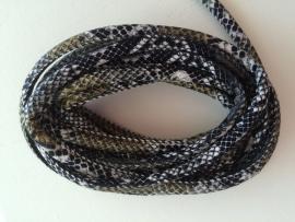 PU.06- 3 meter PU-leren koord slangenprint zwart/wit 6mm