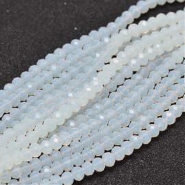 C297.A- ca. 150 stuks facet glaskralen abacus 4x3mm melkwit
