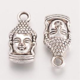 D49- 10 stuks metalen bedels buddha 16.5x8mm zilver