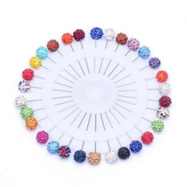30 stuks kopspelden van 53mm met kop van 10mm strass ballen kleurenmix