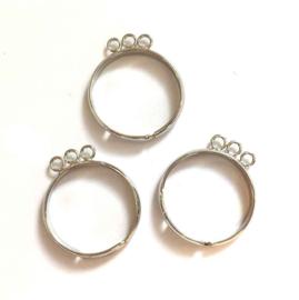 TH118082011- 3 stuks ringen met 3 aanrijg-ogen verzilverd 20mm verstelbaar