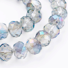 C367- 20 stuks electroplated glaskralen 10x8mm smokey rainbow polish