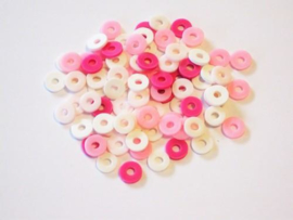 460503/2803- ca. 100 stuks katsuki kralen spacers 6mm roze mix