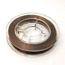 10 meter elastiek 0.8mm dik bruin - elastisch nylondraad