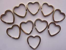 10 stuks sleutelringen hartvorm 31mm - stevige zware kwaliteit!