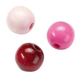 6014240-155 stuks houten kralenmix roze tinten 4mm