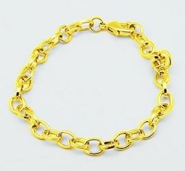 K44- jasseron armband met karabijnsluiting 20.5cm lang goudkleur