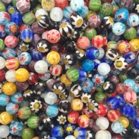 C53- ca. 50 stuks millefiori glaskralen van 6mm kleurenmix