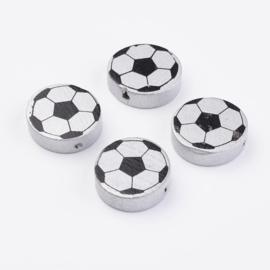8 stuks houten kralen voetbal 20x6mm zilver