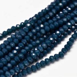 C296.A- ca. 150 stuks facet glaskralen abacus 4x3mm donkerblauw