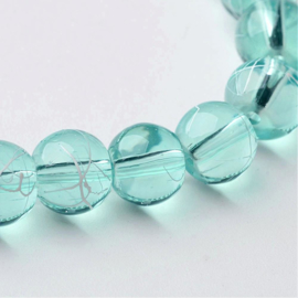 C307- 40 stuks glaskralen transparant drawbench 8mm light skyblue/green