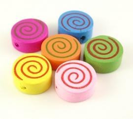 15 stuks houten kralen cirkels spiraal 16x6mm kleurenmix