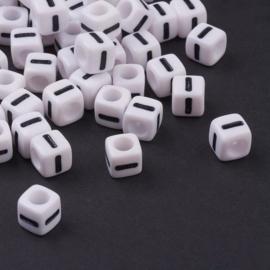 losse letters i als aanvulling voor letterkralen wit 7x7mm - per 20 stuks