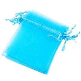 10 stuks organza zakjes 10x15cm blauw