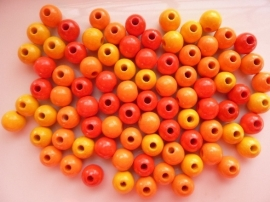 6016110-118 stuks houten kralenmix rood/geel/oranje 6mm
