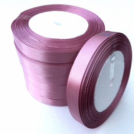 rol met 22.86 meter satijnlint van 12mm breed oud roze/paars - super aanbieding!