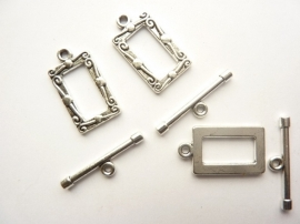 P.90- 3 stuks kapittelsluitingen rechthoek 17x12mm zilverkleur