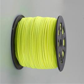 3 meter faux suede/leer veter van 3mm breed fluor neon geel