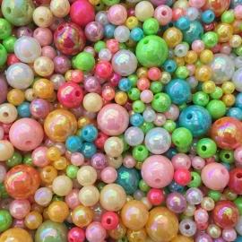 C89- 140-150 stuks acryl kralenmix AB parel kleurenmix 4-10mm