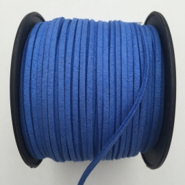 3 meter faux suede veter van 3mm breed hortensia blauw