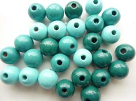 6013206- 28 stuks houten kralenmix turquoise tinten 12mm