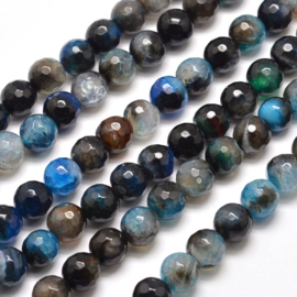 C412- 48 stuks gemstone natural agate facet geslepen 8mm prussianblue