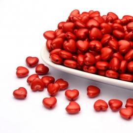 C129- 30 stuks acryl kralen hartjes 11x10mm rood