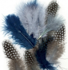 800804/2907- 18 stuks marabou & guinea verenmix ocean kleuren