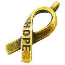 P.111- 10 stuks zwaar metalen bedels Pink Ribbon hope 18x7.5mm goudkleur