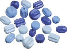 216023234- 20 stuks houten kralen mix blauw 10 tot 18mm
