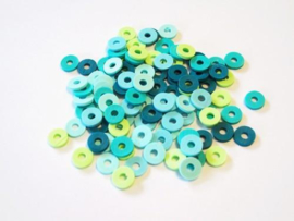 460503/2802- ca. 100 stuks katsuki kralen spacers 6mm turquoise mix
