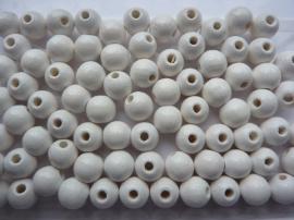 6028 004- 80 stuks A-kwaliteit houten kralen van 8mm wit