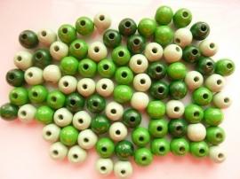 6012809- 85 stuks houten kralenmix groen tinten 8mm