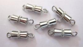 430506/1221- 6 stuks schroefsluiting bow van 10mm zilverkleur