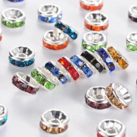 C366- 100 stuks strass ringetjes spacers 6x3mm kleurenmix