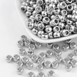 C271- 50 stuks acryl kralen 7x5mm metal look