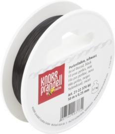 KN2237080- 50 meter nylondraad zwart 0.25mm