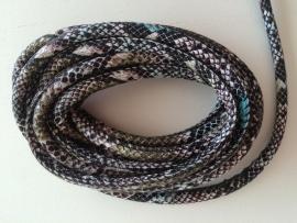 PU.07- 3 meter PU-leren koord slangenprint gemeleerd 6mm